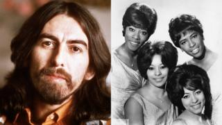 George Harrison (left) and The Chiffons (right).