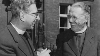 Ambrose Reeves (right), the Bishop of Johannesburg, with Canon John Collins (1905 - 1982, left) in London after being deported from South Africa following his reactions to the Sharpeville Massacre, 12th September 1960