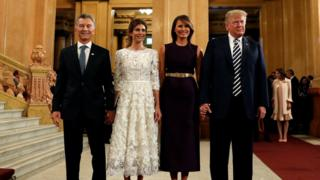 Mr Trump (R) and his wife Melania with Argentine leader Mauricio Macri and his wife Juliana Awada