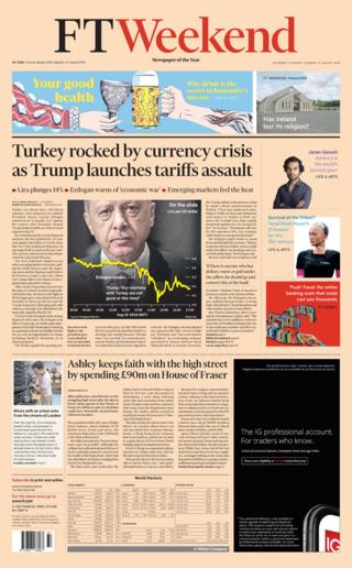 The Financial Times weekend front page