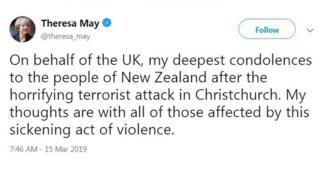 Theresa May's Tweet about NZ attacks