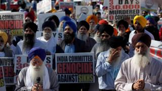 NOVEMBER 7, 2015: Members of the Sikh community mark the 1984 Genocide and Protest India's Human Rights Violations Remembrance Walk, in Los Angeles, CA