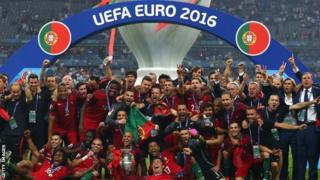 Portugal celebrate their Euro 2016 win