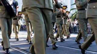Soldiers march in the Anzac Day parade in Melbourne (2016)