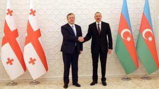 Gürcüstan Baş naziri Giorgi Kvirikaşvili və Azərbaycan prezidenti İlham Əliyev