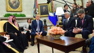 مجوزها توسط ریک پری، وزیر انرژی صادر شدهاند که در عکس نفر اول در سمت راست است که در کنار مایک پنس، در دیدار دونالد ترامپ با محمد بن سلمان حضور دارد