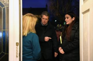 Hugh Grant canvassing with Liberal Democrat candidate for Finchley and Golders Green, Luciana Berger (right), on the General Election campaign trail, 1 December 2019.