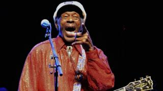 This file photo taken on April 15, 2013 legendary US singer and composer Chuck Berry, one of the pioneers of rock-and-roll, performing during a concert in Montevideo m Uruguay