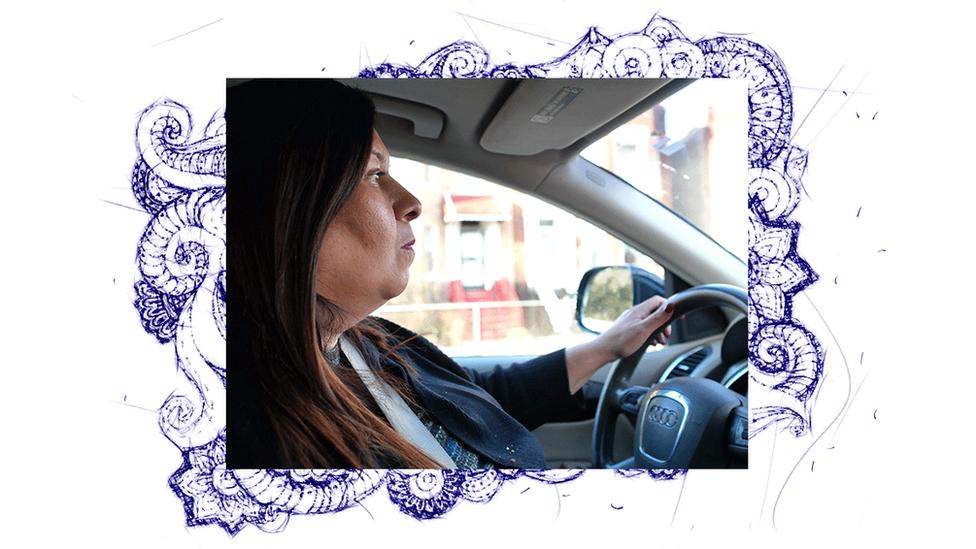 Guadalupe Cruz driving her car