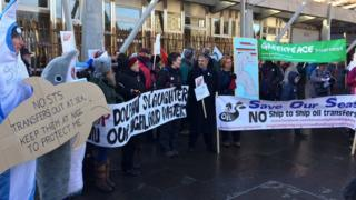 Protest outside Scottish Parliament