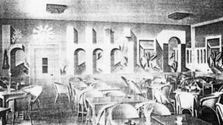 Eric Ravilious' mural in place, shown here as it was originally painted