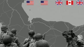 Ilustración montada con la costa norte francesa y las banderas de los ejércitos aliados que participaron en el Día D.