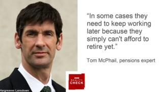 Tom McPhail saying: In many cases they need to keep working later because they simply can't afford to retire yet