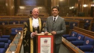 Chris Coleman with Lord Mayor David Hopkins