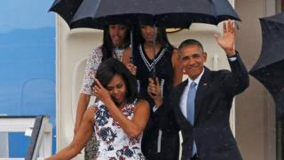 Barack, Michelle, Sasha and Malia arrive