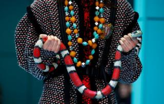A female model holds a brightly coloured snake
