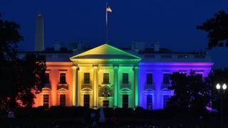 The White House is lightened in the rainbow colours in Washington on June 26. 2015.