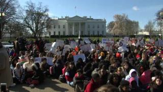 Students gather outside the White House as they join thousands across the country protesting gun violence during National School Walkout. 14 March 2018