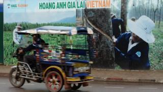 Một poster về dự án của HAGL tại thủ đô Vientian của Lào, hình chụp 2011