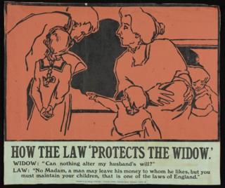 """Плакат под названием """"Как закон защищает вдову"""""""