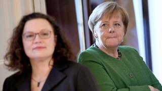 January 10, 2019, German Chancellor Angela Merkel (R) and the leader of the Social Democratic Party, Andrea Nahles