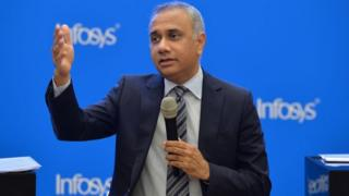 CEO and Managing Director of Infosys Sahil Parekh addressing a press conference to announce the company's first quarter results in Bangalore on July 13, 2018