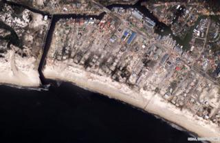 Mexico Beach City Pier, satellite image taken on 11 October 2018
