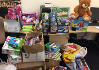 Presents donated to the West End Foodbank following the break-in