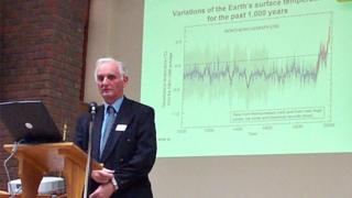 Sir John Houghton delivering a lecture