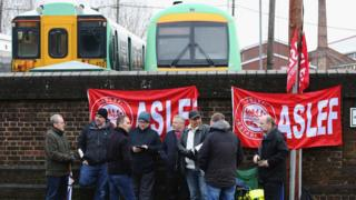 Striking train drivers