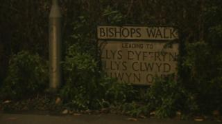 Road sign for Bishops Walk in St Asaph