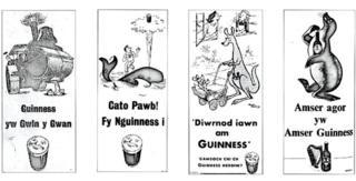 Cyfres o hysbysiadau gan gwmni Guinness