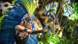 A performer dances during Mangueira performance at the Rio de Janeiro Carnival at Sambodromo on March 4, 2019 in Rio de Janeiro, Brazil