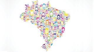 Ilustração do mapa do Brasil formado por diferentes desenhos de pessoas
