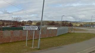 Ruthin recycling centre sign