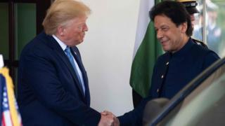 Donald Trump and Imran Khan shake hands at the White House