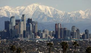 The San Gabriel mountains - a snowy backdrop to downtown LA on 6 February