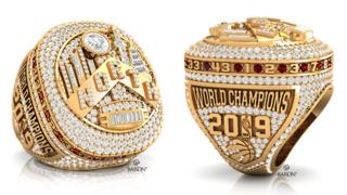 Close ups of the record-breaking Toronto Raptors championship rings
