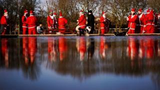 Santas in Victoria Park