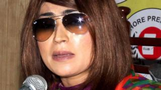 Qandeel Baloch at a press conference in Lahore, just weeks before she was murdered