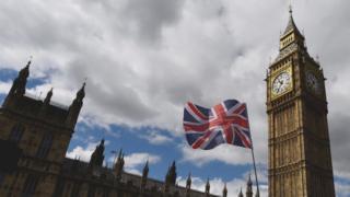 Британский флаг и здание Парламента