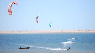 Kitesurfers in Western Sahara