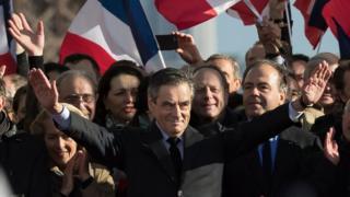 Francois Fillon at a rally in Paris