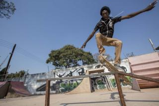 in_pictures Nathan Malambo skateboards at Paark Xtreme Skate Park