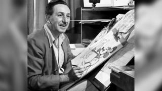 Walt Disney in his studio.
