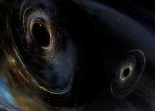 Ilustración de dos agujeros negros
