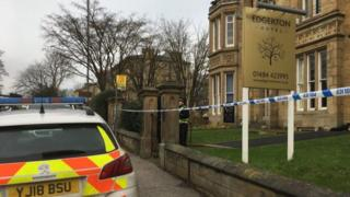 A police cordon at the hotel in Huddersfield