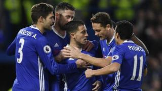 Chelsea players celebrate Eden Hazard's goal against Bournemouth