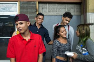 From left to right: Kevin, Juan Carlos, Keida, Elvis and Isis took a bus to Guatemala in the hope of joining the caravan there