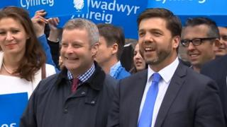 Chris Davies and Stephen Crabb celebrate the Tories' 2015 election victory